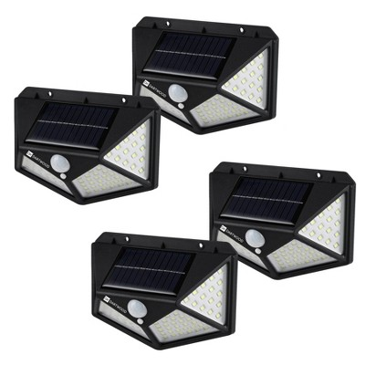 Dartwood Outdoor Solar Lights with Motion Sensor, 100 LED, 450 Lumens Bright Weatherproof Wall Spotlight for Gardens Porches Walkways Patios (4 Pack)