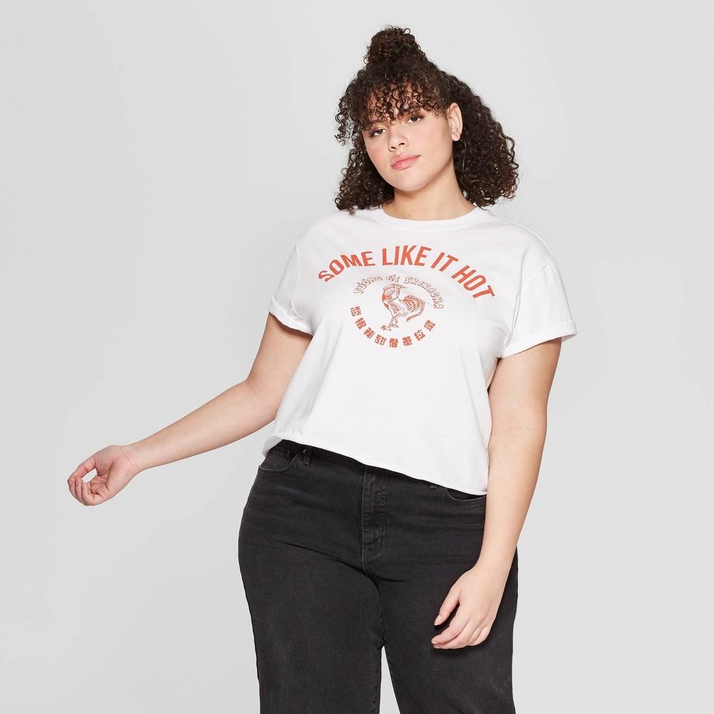 Women's Sriracha Plus Size Short Sleeve Cropped T-Shirt (Juniors') - White 2X
