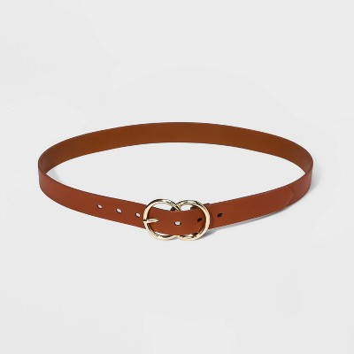 Women's Double Buckle Burnished Belt - A New Day™ Sienna