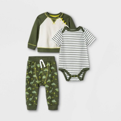 Baby Boys' 3pc Dino Long Sleeve Top & Bottom Set - Cat & Jack™ Green 3-6M