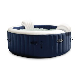Intex PureSpa Plus 6 Person Portable Inflatable Hot Tub Bubble Jet Spa, Navy