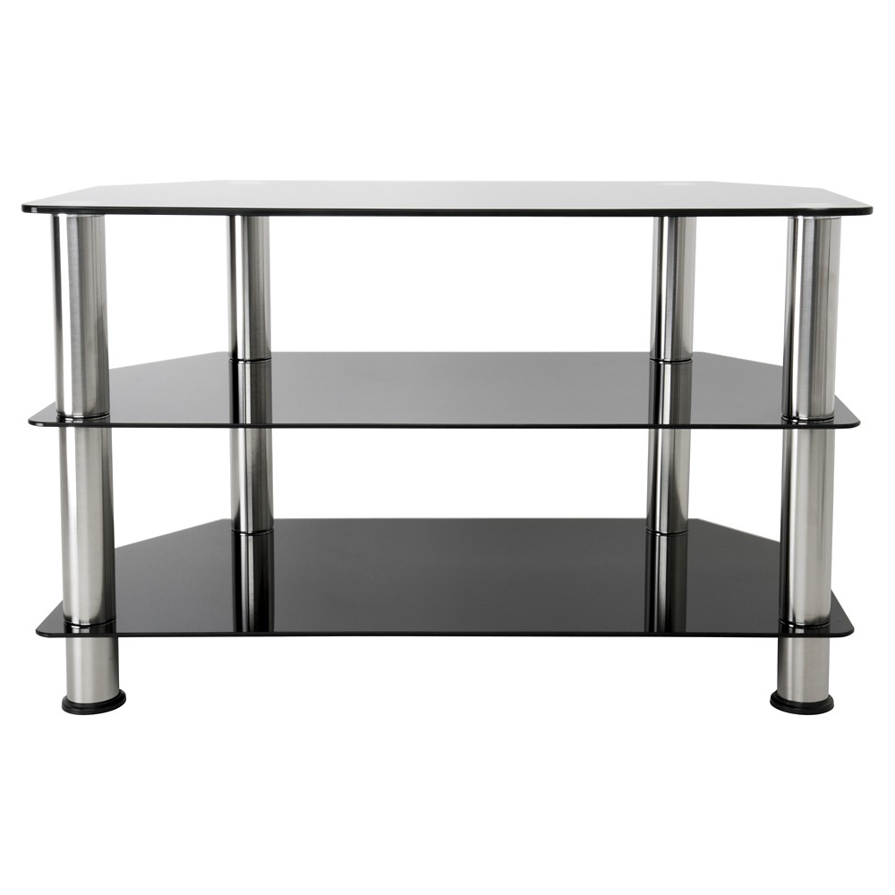 "Image of ""42"""" TV Stand with Glass Shelves - Silver/Black"""
