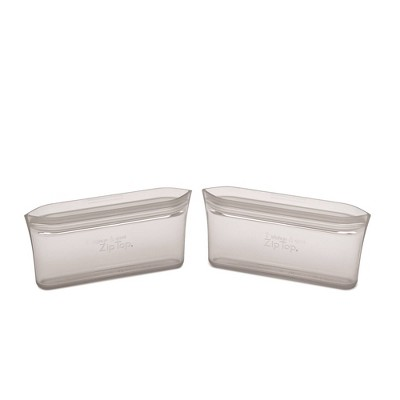 Zip Top Reusable 100% Platinum Silicone Container - Snack Bag Set of 2 - Gray