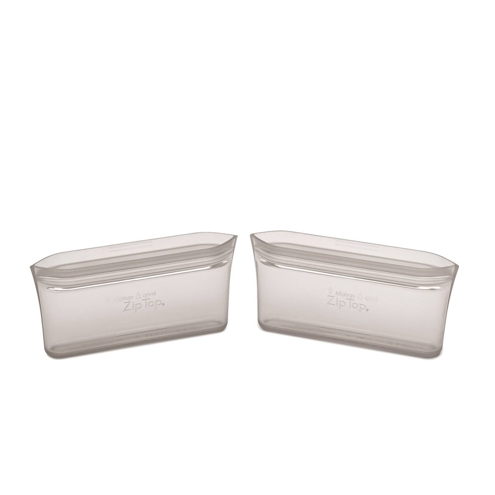 Image of Zip Top Reusable 100% Platinum Silicone Container - Snack Bag Set of 2 - Gray