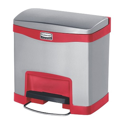 Rubbermaid 1901983 Slim Jim Stainless Steel Front Step-On Wastebasket, 4 Gallon Capacity and Quiet-Close Lid, Red Accents