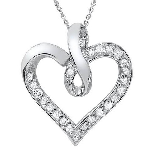Pompeii3 1/3 carat Real Diamond Heart Shape White Gold Pendant - image 1 of 4