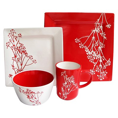 American Atelier Blossom Branch 16pc Dinnerware Set Red