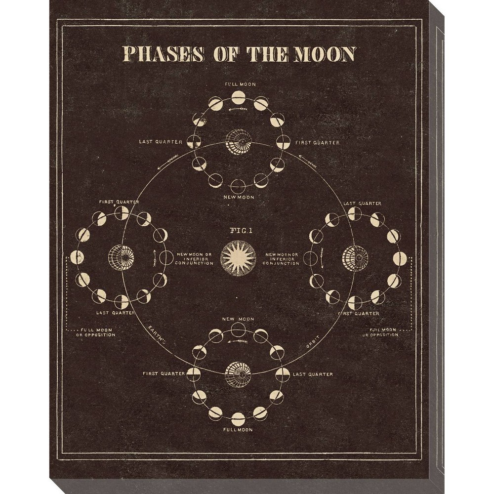 Image of Astronomy 101 Phases of the Moon Unframed Wall Canvas Art - (24X30)
