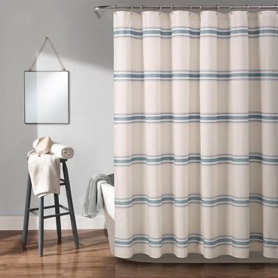 Farmhouse Stripe Shower Curtain Blue - Lush Décor