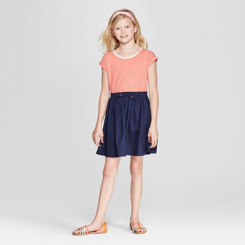 Girls' Stripe Knit to Woven Dress - Cat & Jack™ - image 1 of 3