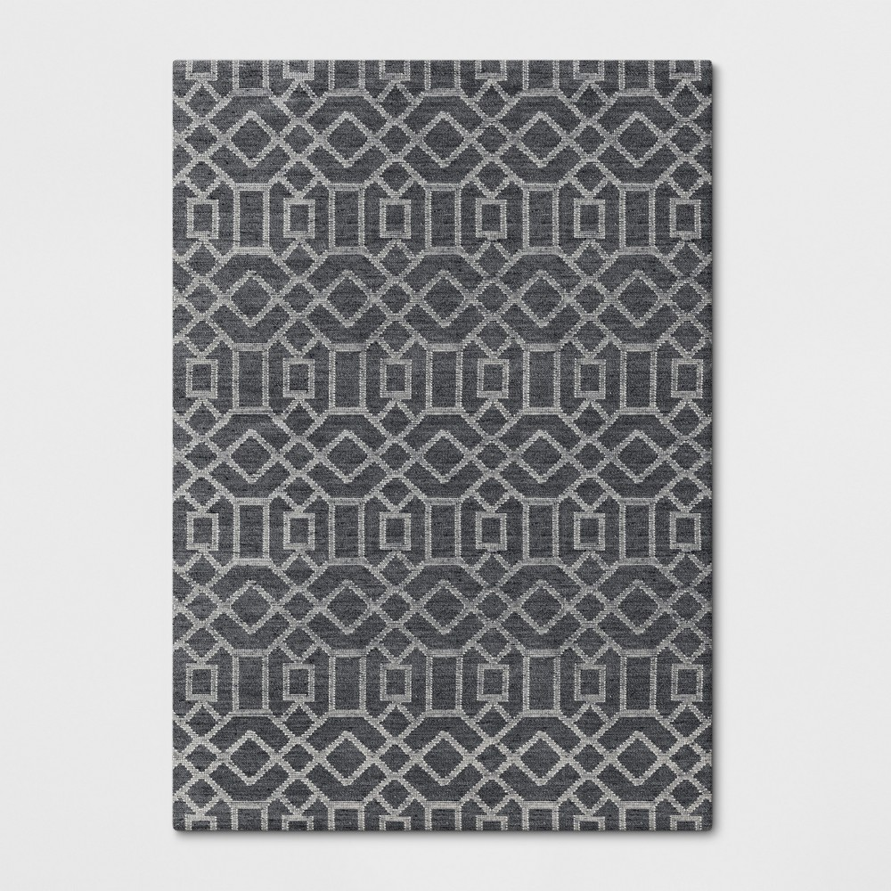 7'X10' Woven Geometric Area Rug Charcoal Heather - Project 62