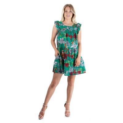 24seven Comfort Apparel Women's Floral Ruffle Sleeve Dress