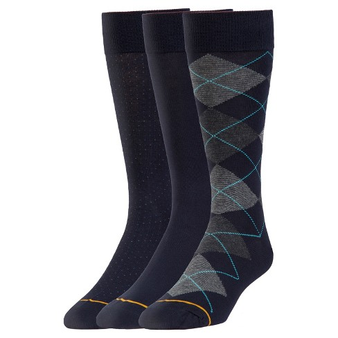Signature Gold by GOLDTOE® 3pk Argyle & Dot Crews-Navy 6-12 - image 1 of 2