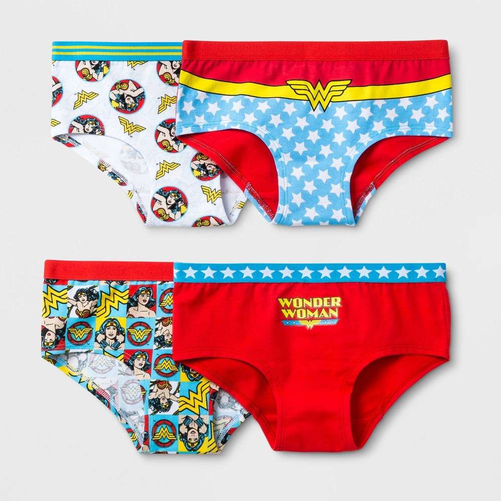 Image of Girls' Wonder Woman 4pk Underwear - 10, Girl's, MultiColored