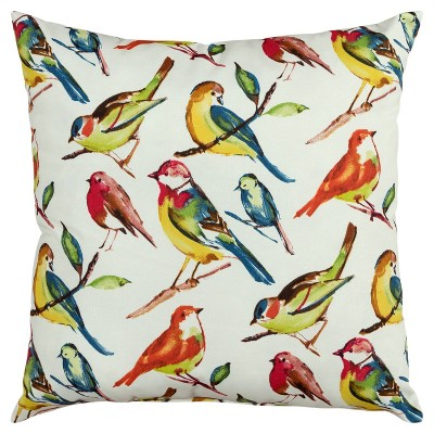 """22""""x22"""" Oversize Poly-Filled Birds Indoor/Outdoor Square Throw Pillow White - Rizzy Home"""