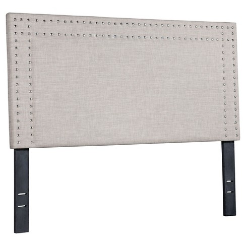 Upholstered Nail Head Full Size Headboard Dove Gray Zm Home