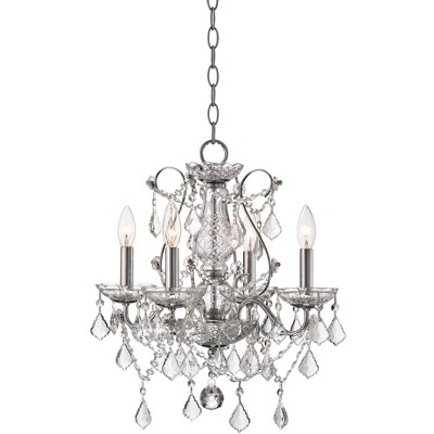 """Vienna Full Spectrum Chrome Chandelier 17"""" Wide Clear Crystal 4-Light Fixture for Dining Room House Foyer Kitchen Island Entryway"""