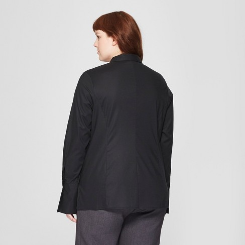 d84bd70cb09 Women s Plus Size Long Sleeve Fitted Button-Down Collared Shirt - Prologue™