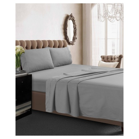 Cotton Percale Deep Pocket Solid Sheet Set (Twin) Silver 350 Thread Count - Tribeca Living - image 1 of 1