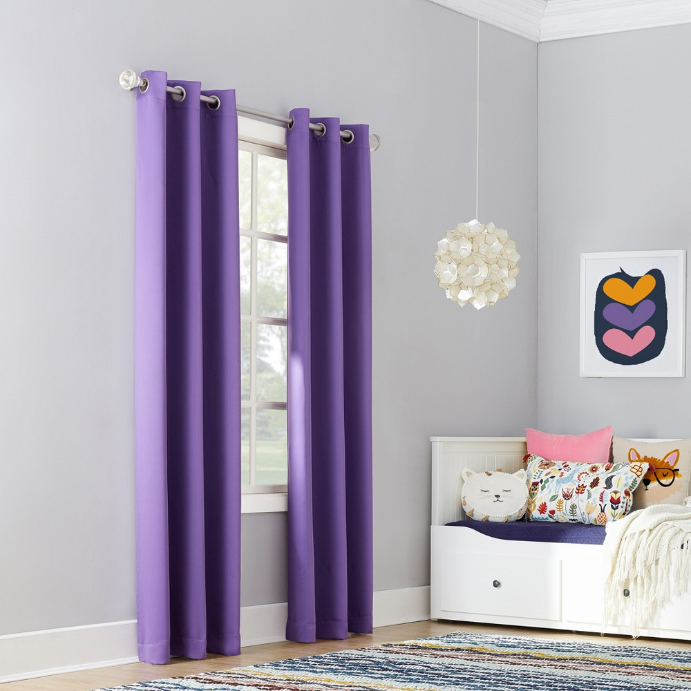 Riley Kids Bedroom Blackout Grommet Curtain Panel Purple 40