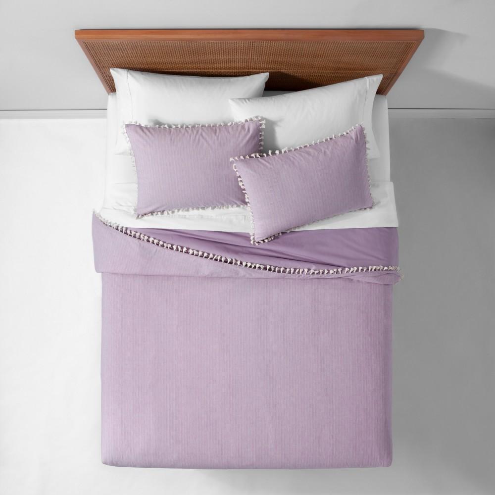Lavender (Purple) Yarn Dyed Tassel Trim Duvet Cover Set (Full/Queen) - Opalhouse