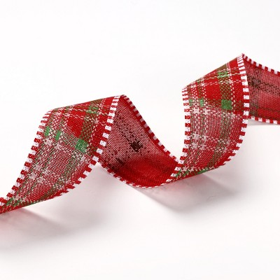 Lakeside Wired Decorative Christmas Ribbon Spool - Festive Holiday Plaid Design