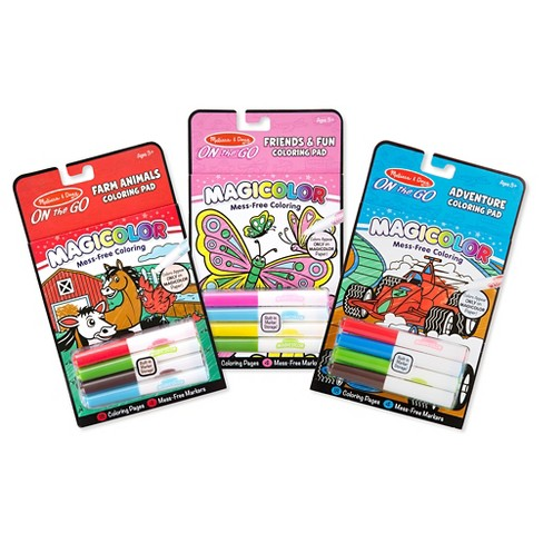 Melissa & Doug On the Go Magicolor Coloring Books Set - Farm Animals,  Friends and Fun, Adventure