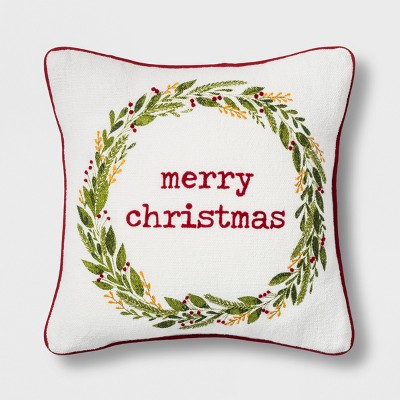 Merry Christmas Wreath Mini Square Throw Pillow - Threshold™