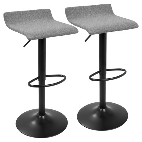 Set of 2 Ale Xl Contemporary Adjustable Barstool - Black And Gray - Lumisource - image 1 of 4