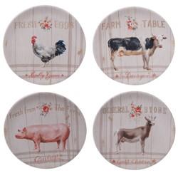 "9"" 4pk Earthenware Farmhouse Dessert Plates White - Certified International"