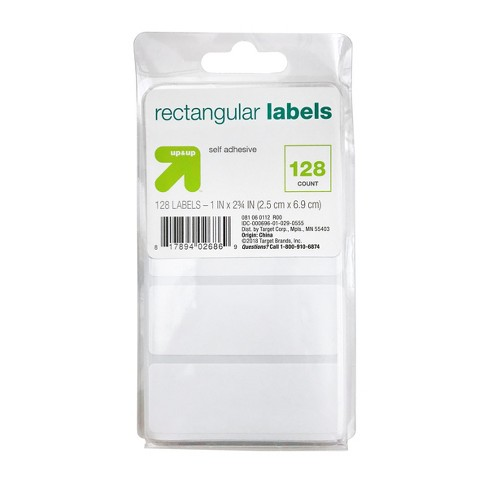 "Rectangular Labels 1.5"" x 2.75"" 128ct White - Up&Up™ - image 1 of 3"