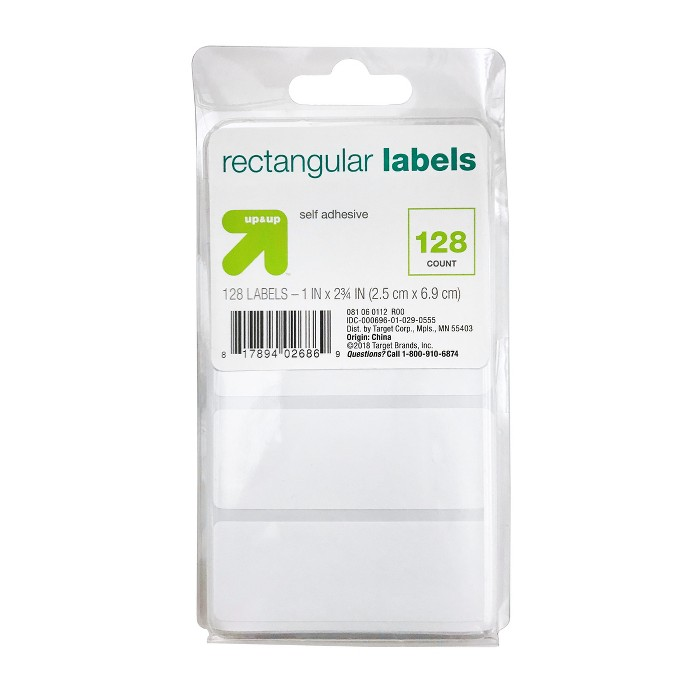 """Rectangular Labels 1.5"""" x 2.75"""" 128ct White - Up&Up™ - image 1 of 3"""