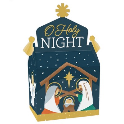 Big Dot of Happiness Holy Nativity - Treat Box Party Favors - Manger Scene Religious Christmas Goodie Gable Boxes - Set of 12