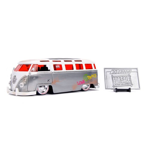 Jada Toys 20th Anniversary For $ale 1962 Volkswagen Bus Die-Cast Vehicle with Mosiac Die-Cast Tile 1:24 Scale Brush Raw Metal - image 1 of 4
