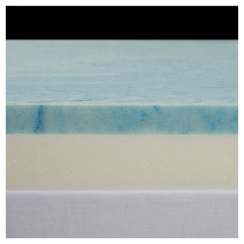 "Image of ""3"""" GEL Select Memory Foam Topper with Poly Silk Cover - Blue (Cal King), Size: California King"""
