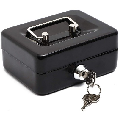 Paper Junkie Small Money Safe Key Lock Box with Coin Slot Portable Metal Cash Box, Securie Bill Storage Container with Handle, Black