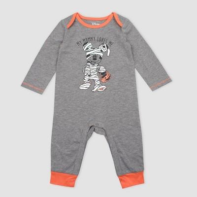 Baby Boys' Disney Mickey Mouse Mummy Halloween Long Sleeve Romper - Dark Gray 3M