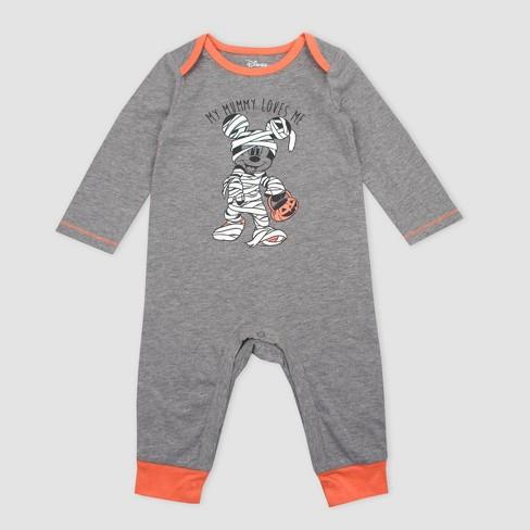 Baby Boys' Disney Mickey Mouse Mummy Halloween Long Sleeve Romper - Dark Gray - image 1 of 1