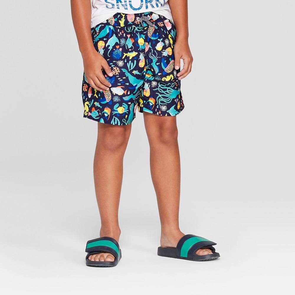 Boys' Sea Creature Print Volley Swim Trunks - Cat & Jack Green/Blue XL Husky