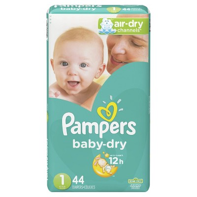 Pampers Baby Dry Diapers Jumbo Pack - Size 1 - 44ct