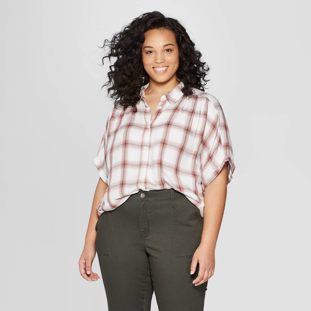Women's Plus Size Plaid Short Sleeve Camp Shirt - Universal Thread Pink 3X
