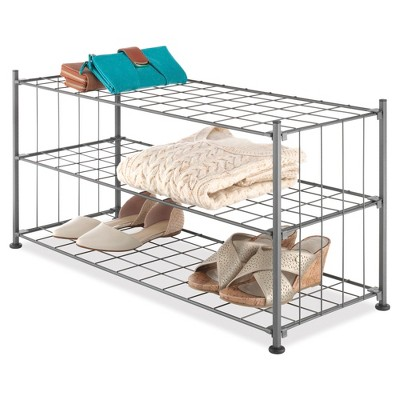Whitmor 3-Tier Grid Shelf Shoe Rack - Gunmetal