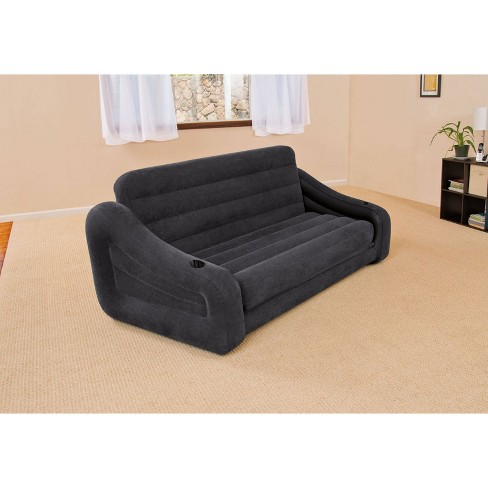 Intex 68566ep Inflatable Queen Size Pull Out Futon Sofa Couch Bed Dark Gray Target
