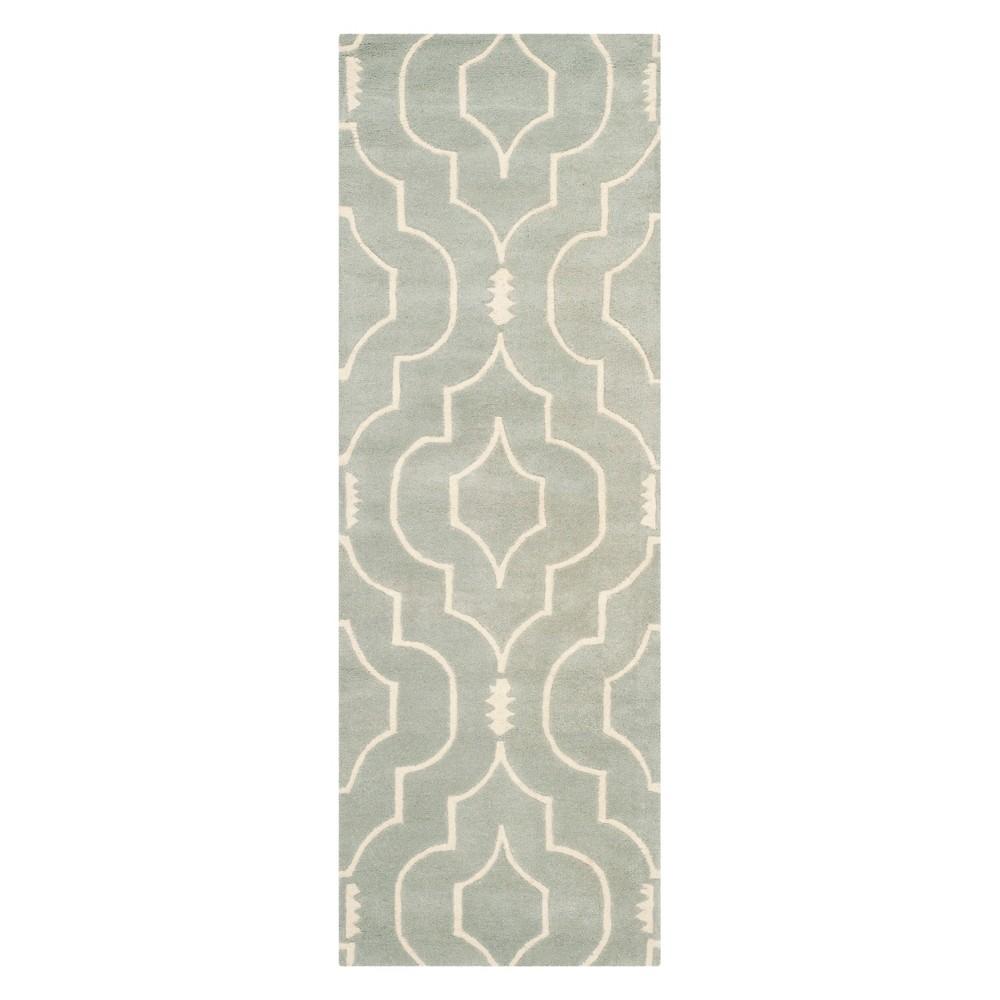 2'3X9' Geometric Tufted Runner Gray/Ivory - Safavieh