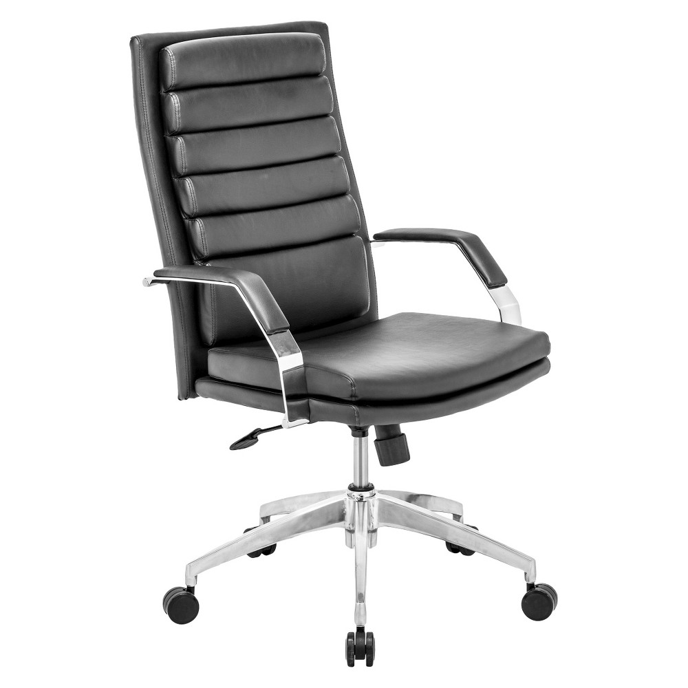 Modern Adjustable Chrome Steel and Faux Leather Office Chair - Black - ZM Home