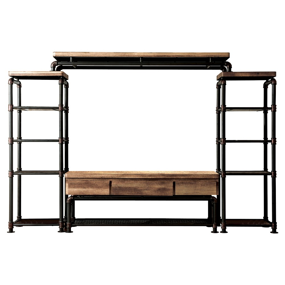 Image of 4pc Stonehedge Industrial Pipe Inspired Entertainment Console Black/Natural - ioHOMES