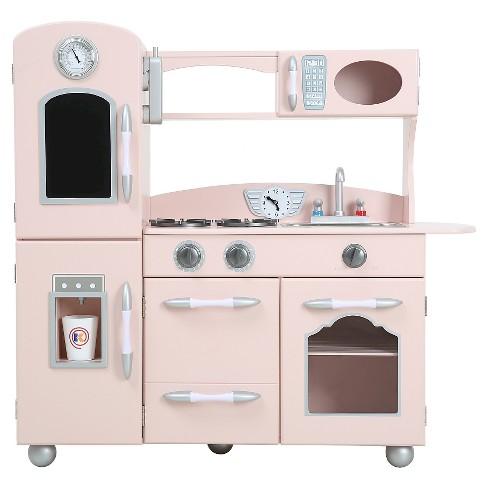 teamson kids retro wooden play kitchen pink target - Play Kitchen