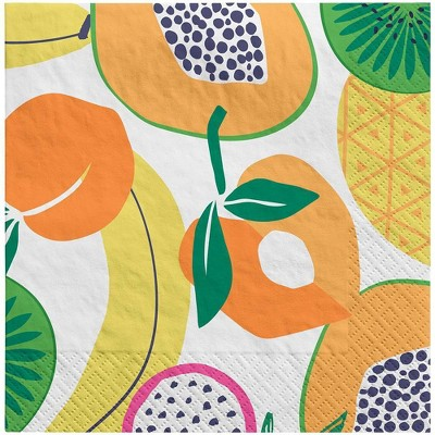 30ct Lunch Napkin Fruit Yellow Orange Green - Sun Squad™