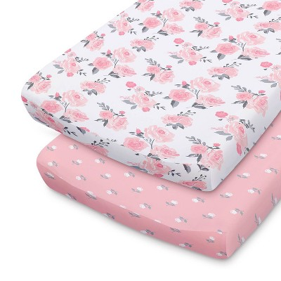 The Peanutshell Changing Pad Covers - Pink Roses/Floral 2pk