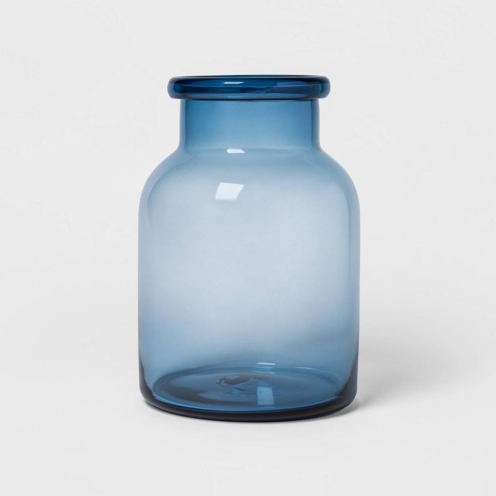 """Image of """"11.5"""""""" x 7.9"""""""" Decorative Glass Bottle Vase Blue - Threshold"""""""